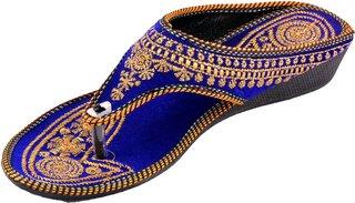 PM TRADERS Women's Blue Velvet Flip Flops