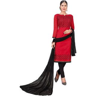DnVeens Women Pure Chanderi Embroidered Unstiched Suit Salwar Kameez Dress Material With Dupatta BLGNGITCT04 (Unstitched)