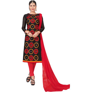 e50d9a8d0 DnVeens Women Pure Chanderi Embroidered Unstiched Suit Salwar Kameez Dress  Material With Dupatta BLGNGITCT11 (Unstitched