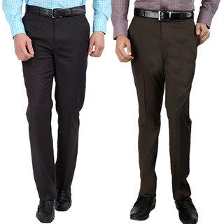 Gwalior Pack Of 2 Slim Fit Formal Trousers (Brown  Grey)