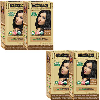 Semi Permanent Herbal Hair Colour Botanical Indus Black 100 Natural One Touch Pack Of 4