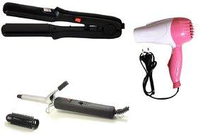 Branded Combo of Hair Curling Rod, 1000w Hair Dryer and Hair Curler / Hair Straightener