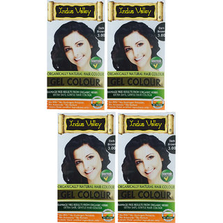 100 Natural Hair Colour Amonia PPD Free Gel Dark Brown One Touch Pack of 4