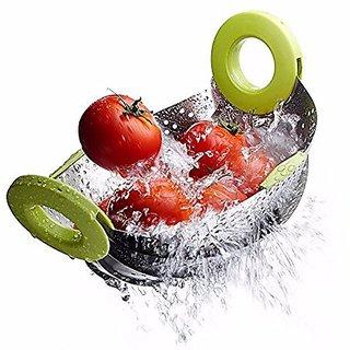 Hardik Kitchen Colander Drain Basket Rice Pulses Fruits Vegetable Noodles Pasta Washing Bowl Strainer (Silver)
