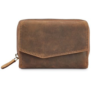 Calfnero Brown Solid Clutch for Women's