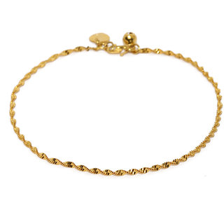 Rubans Gold Toned Twisted Mesh Chain Anklet