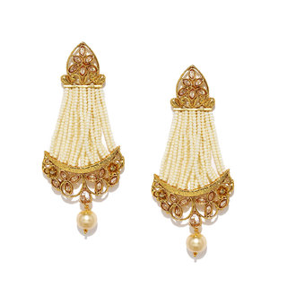 Buy rubans antique gold toned pearl strand cz studded chandelier rubans antique gold toned pearl strand cz studded chandelier earrings aloadofball Image collections
