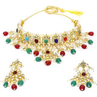 Rubans Kundan and Enamel Choker  Necklace Set