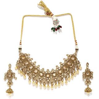 Rubans Antique Cubic Zirconia And Pearl Drop Choker Necklace Set