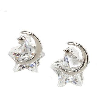 Rubans Silver Tone CZ Studded Star Shaped Stud Earrings
