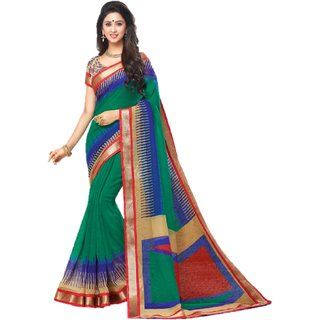 Miraan Linen Cotton Sarees with Attached Zari Border & blouse Piece For Women