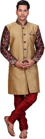 Abc Garments Gold Silk Sherwani For Mens
