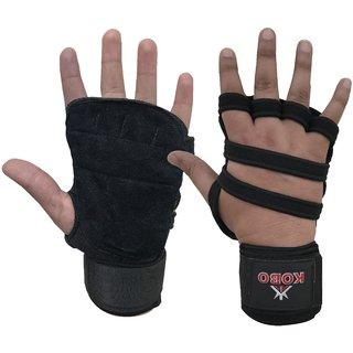 Kobo Weight Training Gloves with Wrist wrap ( Neoprene Padded)