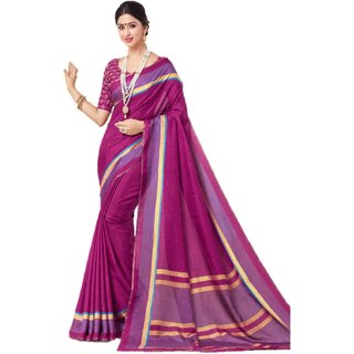 Miraan Linen Cotton Sarees with Attached Embroidery Border blouse Piece For Women