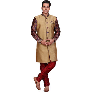 Abc Garments Gold Silk Sherwani For Mens