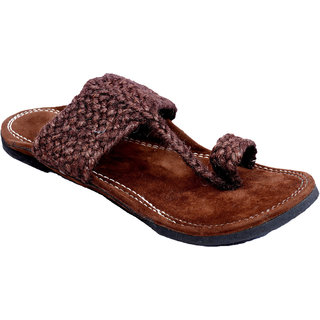 PM TRADERS Men's Brown Velvet Jutti