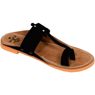 PM TRADERS Men's Black Faux Leather Ethnic Sandal