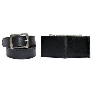 Destinastion Black Belt and Black Wallet Combo (Synthetic leather/Rexine)