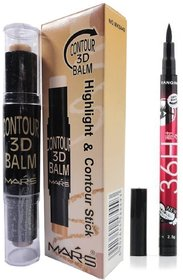 Mars 2 in 1 BB Highlight and 3D Contour Balm Stick (Beige) with Eyeliner Sketch Pen