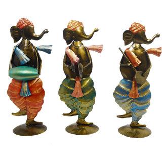 Desert Overseas Multicolor Iron Hand Painted Decorative Ganpati Ji Musician Set of 3