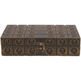 Desert Overseas Multicolor Wooden Handmade Decorative Rectangle Carving Box