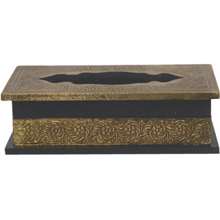 Desert Overseas Multicolor Wooden & Metal Fitting Handmade Decorative Tissue Box