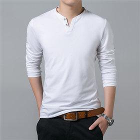 Attitude White Plain Cotton Flap Collar T-Shirt For Men