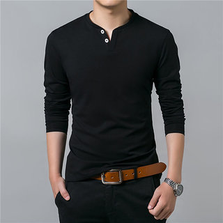 Attitude Men Black Plain Cotton Flap Collar Casual T-Shirt