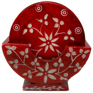 3 Red Marble Coaster Set With Hand Made Natural Work Pack Of 6 Plates