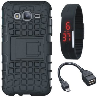 Samsung J7 Max Dual Protection Defender Back Case with Digital Watch and OTG Cable