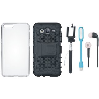 Samsung J7 Max Shockproof Tough Defender Cover with Silicon Back Cover, Selfie Stick, Earphones and USB LED Light
