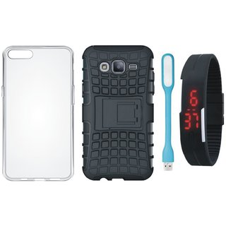 Samsung J7 Max Shockproof Tough Defender Cover with Silicon Back Cover, Digital Watch and USB LED Light