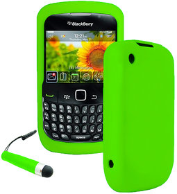 Zigcart Blackberry Curve 8520 Silicon Plain back cover Green Silicon Free Stylus
