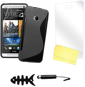 Zigcart Black S Line Mobile Cover for HTC One M7 Includes Fish Winder, Stylus, Screen Guard and Cleaning Cloth