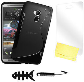 Zigcart Black S Line Mobile Cover for HTC One Max Includes Fish Winder, Stylus, Screen Guard and Cleaning Cloth