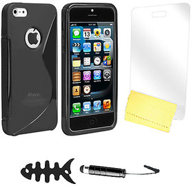 Zigcart Black S Line Mobile Cover for Iphone 4S Includes Fish Winder, Stylus, Screen Guard and Cleaning Cloth