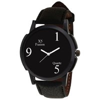 NG 159 Fusion Round Dial Black Leather Strap Quartz Wat