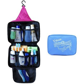 Kudos Travel Cosmetic Makeup Toiletry Case Wash Organizer Storage Pouch Hanging bag- BLUE