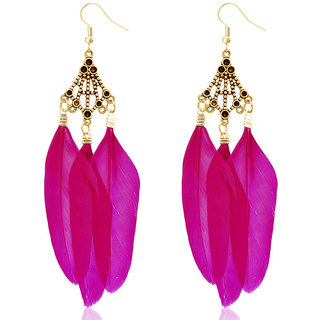 JewelMaze Gold Plated Pink Feather Earrings