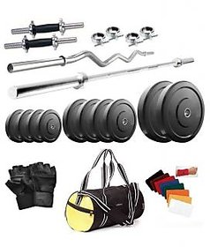 BODY MAXX 30 Kg Home Gym, 3Ft Curl Rod, 5Ft Rod, 2 X 14 Inch Dumbell Rods, Curl Rod, Gym Bag (GW4LARGEBAG11)