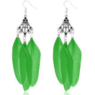 JewelMaze Rhodium Plated Green Feather Earrings