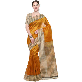 Meia Yellow,Beige Coloured Printed Art Silk Casual Wear Saree With Unstitched Blouse