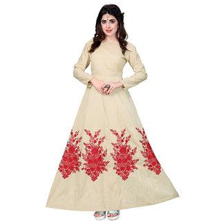 Aika Womens Banglory Silk Embroidary Work Designer Stright Gown (Free SizeBeige)-G047-Holi Beige