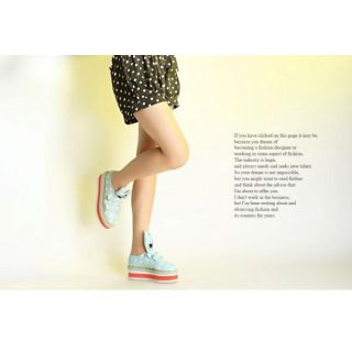 Run With Style Icon:Sneakers With Thickness Bottom Star Printed Blue Color