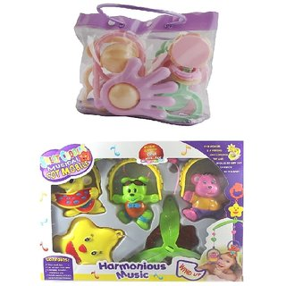 combo of Windup Sweet Cuddle Cot Cradle and Baby Rattles (6 Pcs.)In A Bag
