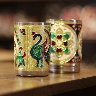 SVM stainless steel pack of 2 royal meenakari glass set Peacock Design -Handmade