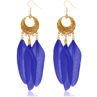 JewelMaze Gold Plated Blue Feather Earrings