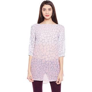 Ruhaan's Grey Printed Round Neck Tunics Tops
