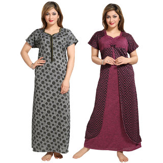 Be You Grey-Pink Printed Nightgowns Combo Pack of 2