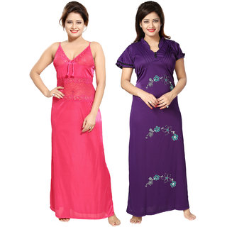 Be You Pink-Purple Floral Nighty Combo Pack of 2